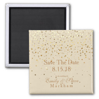 Save The Date Petite Golden Stars Magnet-Beige Magnet