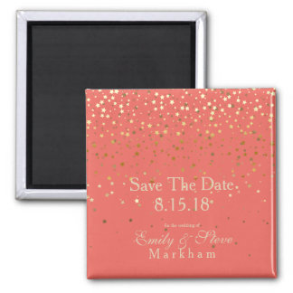 Save The Date Petite Golden Stars Magnet-Coral Magnet