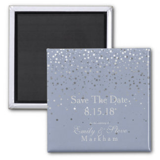 Save The Date Petite Silver Stars Magnet-DSTY Blue Magnet