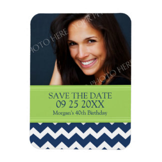 Save the Date Photo Birthday Magnet Blue Chevron