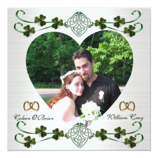 Save the date photo card Irish wedding Unity knot 13 Cm X 13 Cm Square Invitation Card