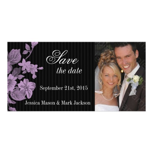 Save The Date Photo Card Purple Flowers