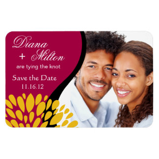 Save the Date Photo | fuschia gold Rectangular Photo Magnet