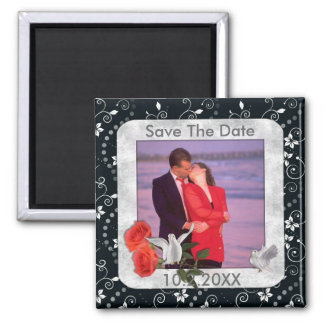 Save The Date Photo Magnet 2 Inch Square Magnet