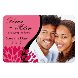 Save the Date Photo | pink fuschia Rectangular Photo Magnet