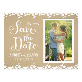 Save the Date Photo Postcard Lace and Kraft