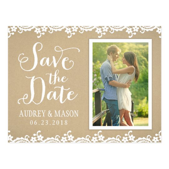 Save the Date Photo Postcard | Lace and