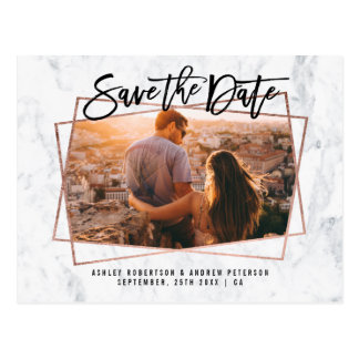 Save the date photo script rose gold marble postcard