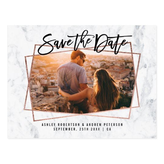 Save the date photo script rose gold marble