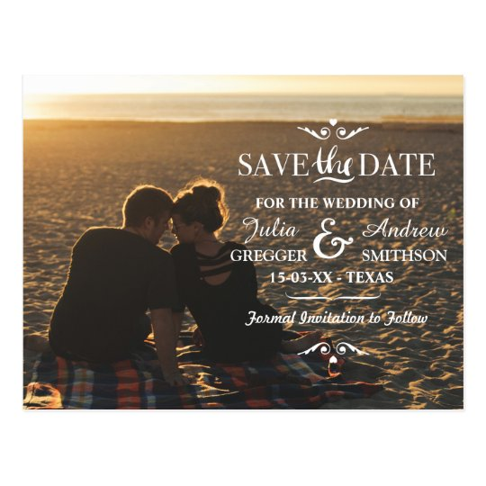 Save The Date Photo Wedding Card Sunset Postcard