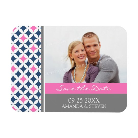 Save the Date Photo Wedding Magnet Grey Blue Pink