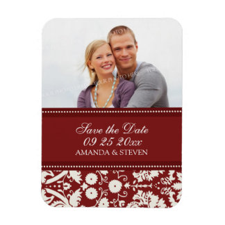 Save the Date Photo Wedding Magnet Red Damask