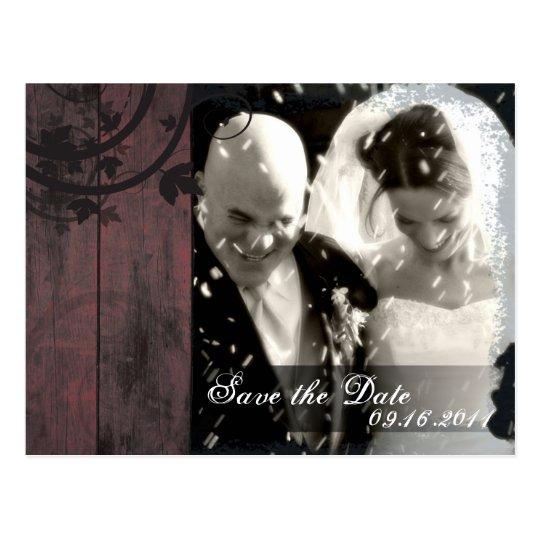 Save the Date Photo Wedding Postcard Barn Board