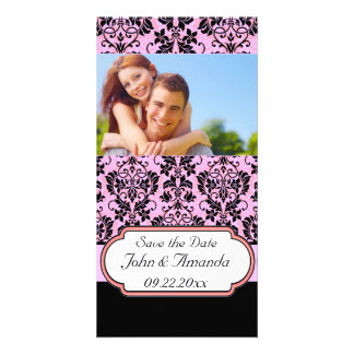 Save the Date ~ Pink and Black Damask Photo Greeting Card