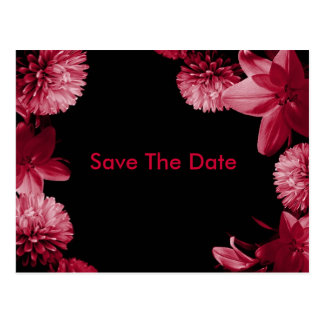 Save The Date pink and Black Postcard