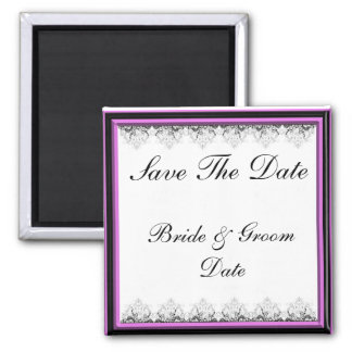 Save the Date PINK AND BLACK Wedding Magnets Fridge Magnets
