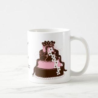 Save the Date Pink and Chocolate Cake Basic White Mug