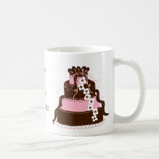 Save the Date Pink and Chocolate Cake Mugs