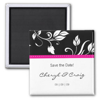 Save the Date Pink Black Trendy Floral Magnet