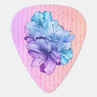 Save The Date Pink Blue Flower Illustration Guitar Pick