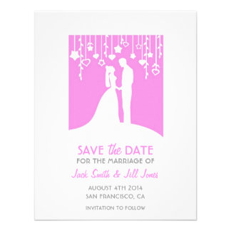 Save the date - pink bride and groom silhouettes invite