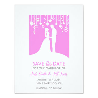 Save the date - pink bride and groom silhouettes 4.25x5.5 paper invitation card