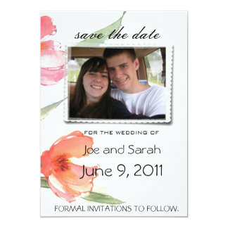 "save the date pink floral wedding invitations 5"" x 7"" invitation card"