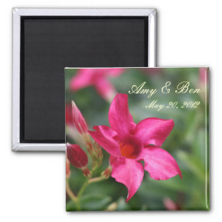 save the date pink flower magnet