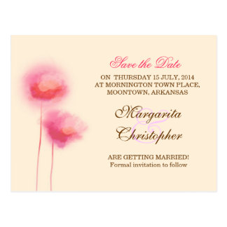 save the date pink flowers postcards