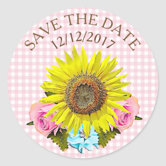 Save the Date Pink Gingham Sunflower Stickers