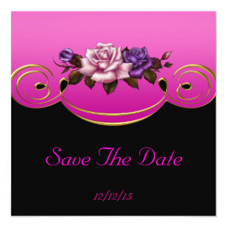 """Save The Date Pink Gold Black Roses 5.25"""" Square Invitation Card"""