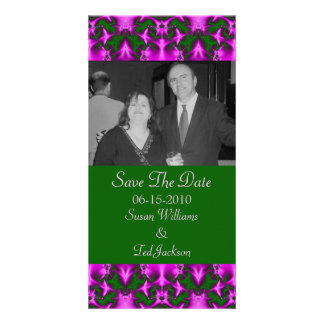 save the date pink green photo card