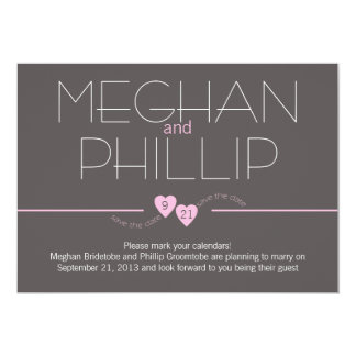 Save the Date Pink Hearts Card