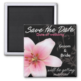 Save the Date Pink Lily on Black Magnet