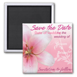 Save the Date Pink Lily Square Magnet