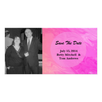 Save the Date Pink orange marble texture Custom Photo Card