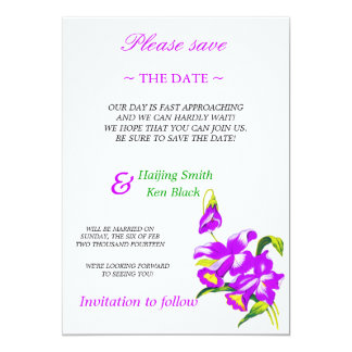 Save The Date Pink Orchid Wedding Flowers 2 Custom Invites