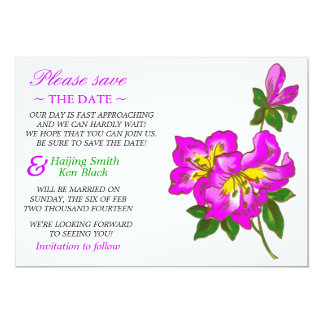 Save The Date Pink Orchid Wedding Flowers Personalized Invitations