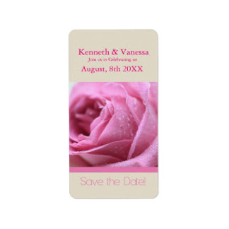 Save the Date pink rose Address Label