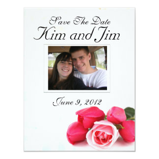Save the Date Pink rose invitation