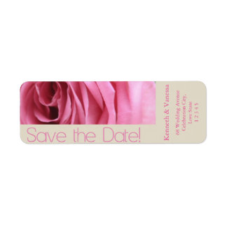Save the Date pink rose Return Address Label