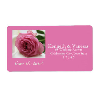 Save the Date Pink rose Shipping Label