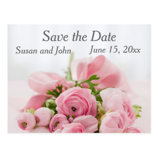 Save the Date Pink Rose Wedding Postcard Postcards