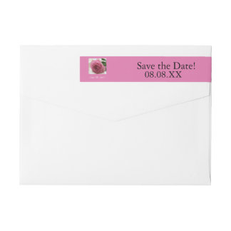 Save the Date pink rose Wrap Around Label