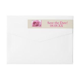 Save the Date pink rose Wraparound Return Address Label