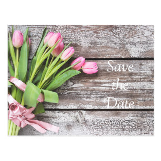 Save the Date--Pink Tulips & Wood Postcard