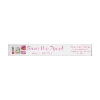 Save the Date Pink Wedding Collage Wrap Around Label