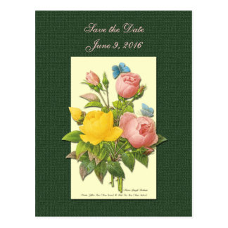 Save the Date Pink Yellow Roses Postcard Post Cards