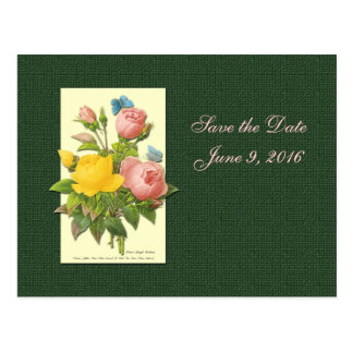 Save the Date Pink Yellow Roses Postcard Post Card