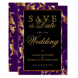 Save the Date Plum Purple and Gold Marble Card